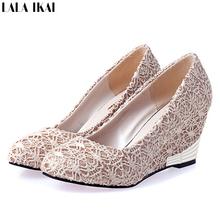 Women Wedge Heels Lace Shoes Woman Wedges High Heels Women Pumps Wedding Shoes XWF270-5(China (Mainland))