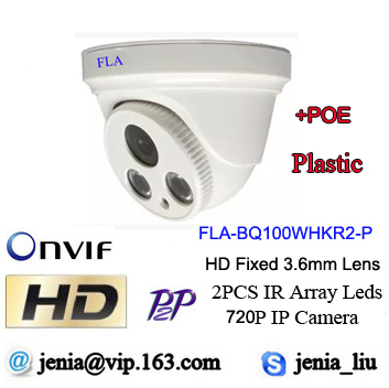 1.0 Megapixel IP dome Camera HD ONVIF 1280*720P H.264 Indoor 2pcs IR LEDs IR-CUT POE Network IP cctv cameras mobile phone view(China (Mainland))