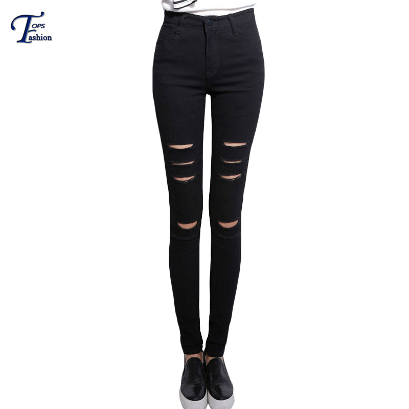 Black Slim Ripped Denim Pants Women Fitness Long Trousers Summer 2016 Casual High Waist Button Fly Skinny Pockets Jeans(China (Mainland))