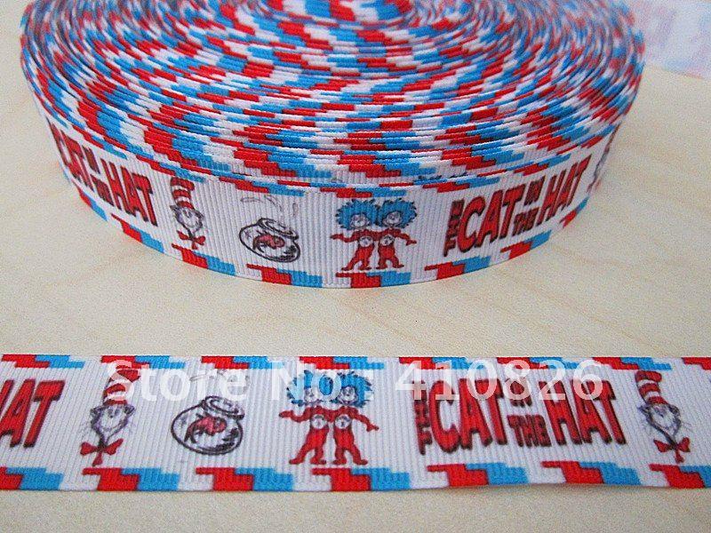 WM ribbon wholesale/OEM 7/8inch 22mm cat in hat cartoon printed grosgrain ribbon webbing 50yds/roll free shipping(China (Mainland))