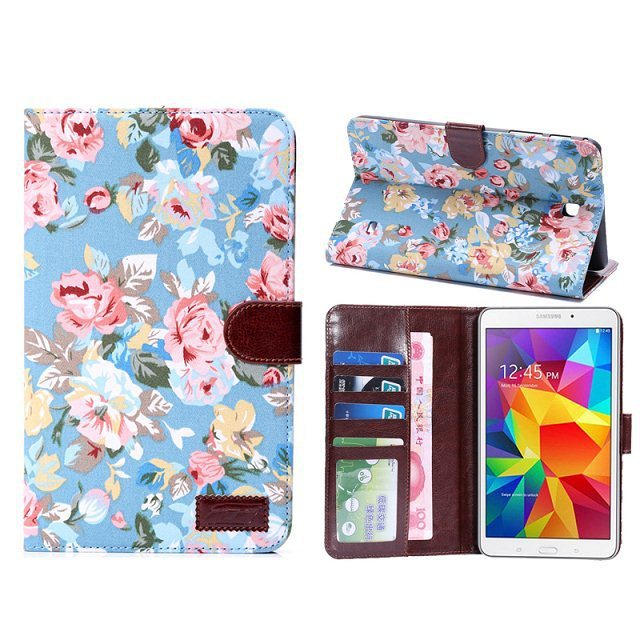 Samsung Galaxy Tab 4 8.0 T330 T331 T335,Flower Cloth Leather Stand Case Tab4 8 Inch card holder + screen protector pen - Ereader&Tablet accessory store