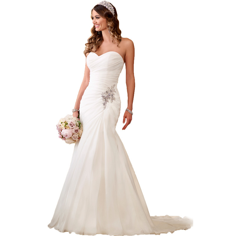 L262 Summer White Elegant Women Wedding Dresses 2015 Beading Bridal Gowns High Quality Party