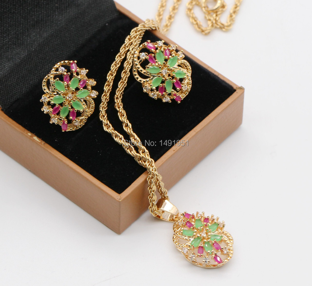 Luxury 18kt Gold Filled Natural Ruby&amp;Emerlad CZ Flower Earrings Necklace Jewelry Set<br><br>Aliexpress