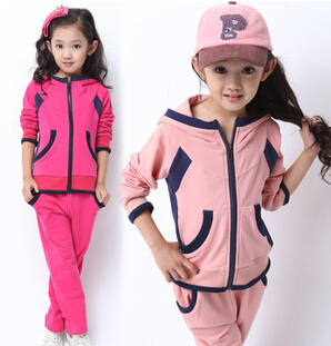 Korean Explosion Girls Clothing Sets Active Children's Sportwear With 2pcs Spring Autumn Coat+Trousers Solid Kids Tracksuit E241(China (Mainland))