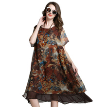 Buy Loose Long Floral Printed Chiffon Dress Short Sleeve Summer Layered Midi Dresses Plus Size Women Clothing xl,2xl,3xl,4xl for $29.50 in AliExpress store