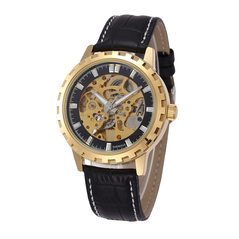SHENHUA  Antique Gear Dail Clock Leather Brass Wristwatches Automatic Mechanical Luxury Roman watch Sport Military Man Watches<br><br>Aliexpress