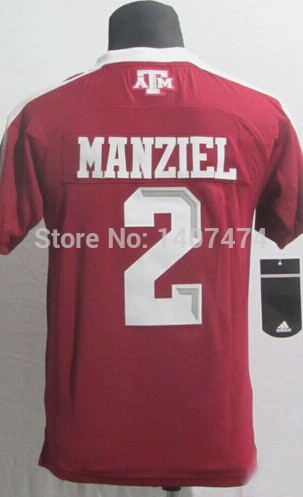 Good Quality Hot Sale/ youth/boy/kid's college football jersey Texas A&M Aggies #2 Johnny Manziel red stitched football shirt(China (Mainland))