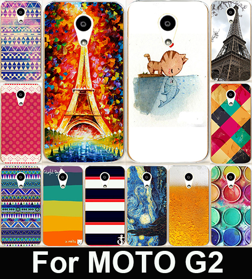 Colorful Stripes And Eiffel Tower Hard PC &Soft TPU Painting Cell Phone Case Cover For Motorola Moto G2 G+1 XT1063 XT1068 XT1069(China (Mainland))