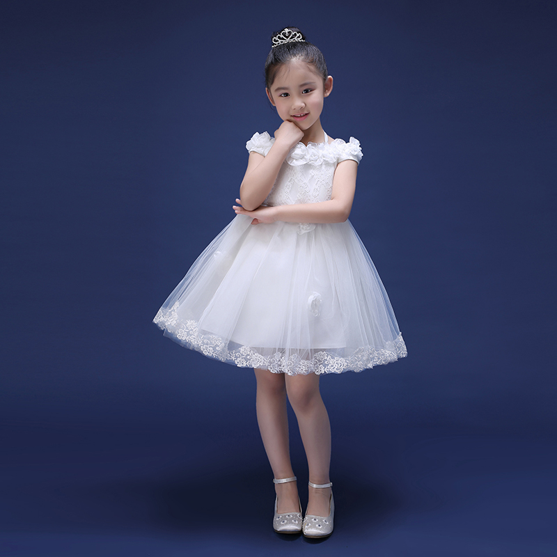 shoulderless knee-length kids girls dress 2016 new princess dress ball gown flower girl pageant dresses for wedding birthday