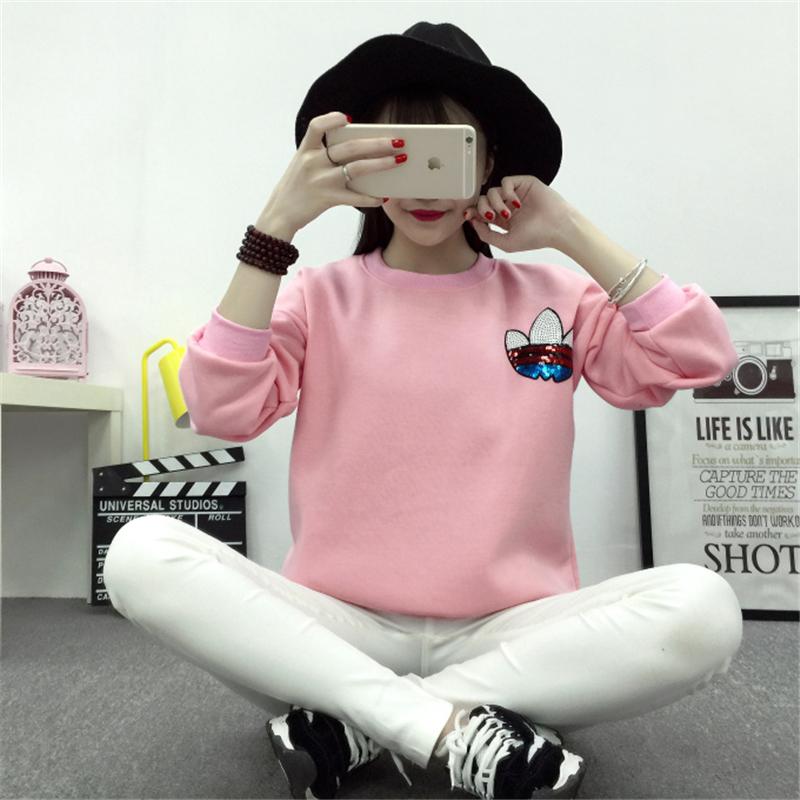 2016 Women's kawaii korean cute harajuku ulzzang jogging logo print pink kpop casual sport pullover hoodie sweatshirt tracksuit(China (Mainland))