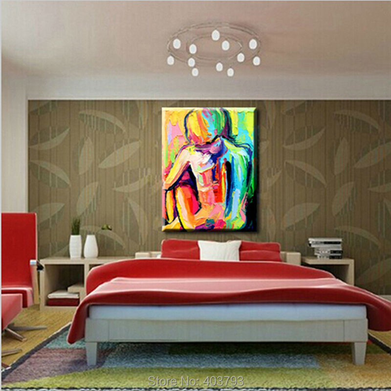 Buy 100% Hand Painted Palette Knife Abstract Oil Painting On Canvas Decorative Pictures Nude Girls For Living Room Wall Decor Art cheap