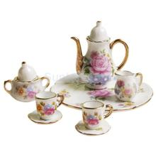 NEW ARRIVAL Children's Classic Toys 8pcs Dollhouse Miniature Dining Ware Porcelain Tea Set Dish Cup Plate -Pink Rose  HOT SALE(China (Mainland))