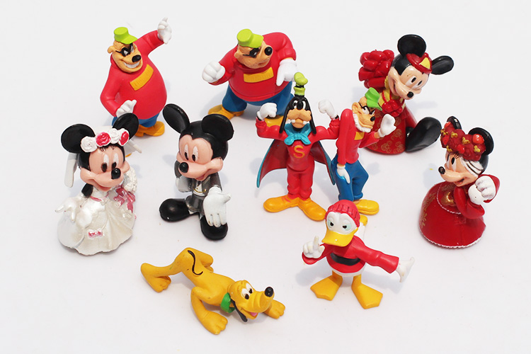 5sets/lot Mickey Minnie figure Mouse Donald Duck Cartoon PVC Action Figure Childre's toy Free Shipping(China (Mainland))