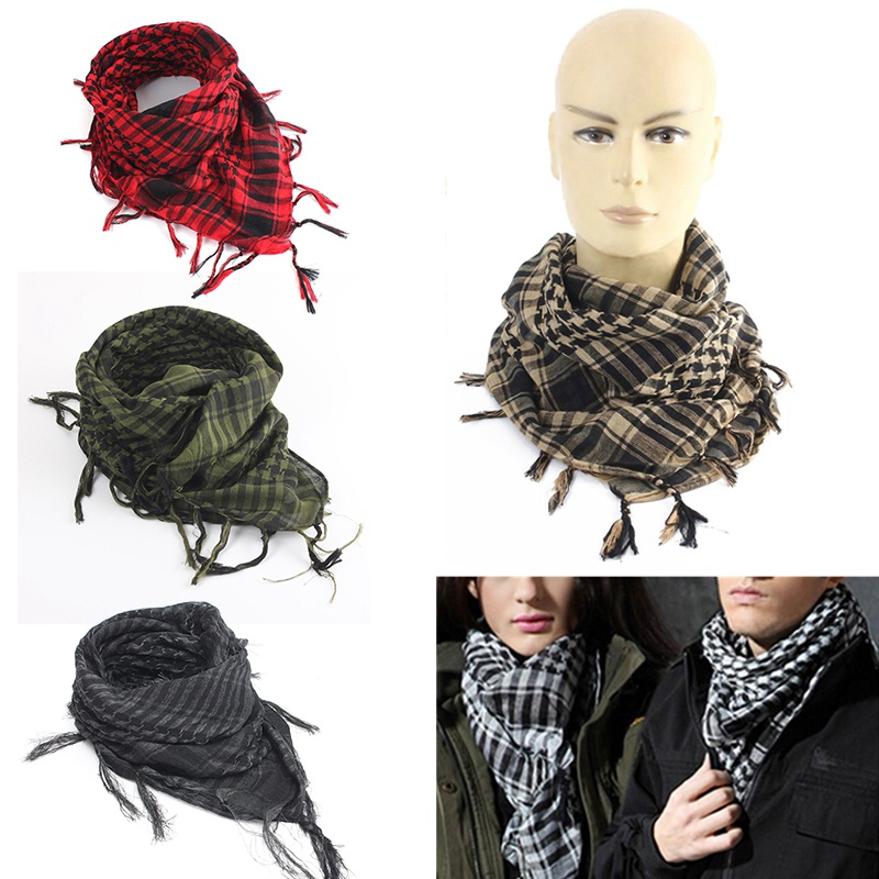New 100x100cm Tactical Outdoor Arab Desert Shemagh Scarf Polyester Plaid Printed Scarf Wraps With Tassel Fashion For Men Women(China (Mainland))