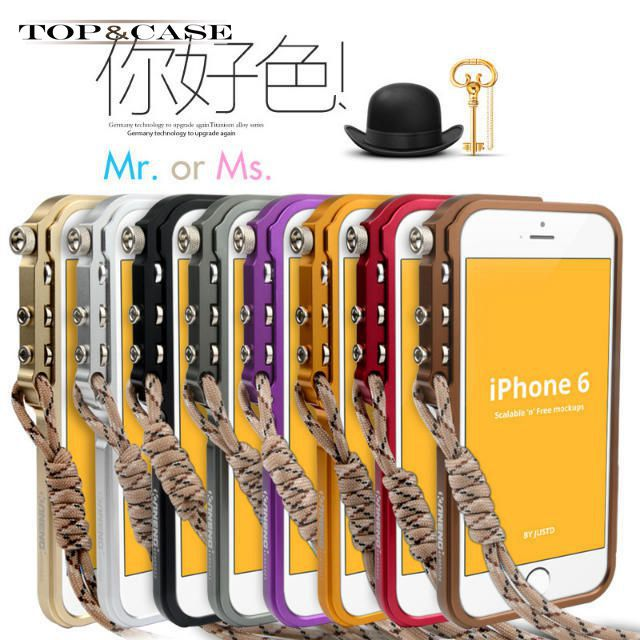 Aluminium alloy bumper for apple iphone 6 machinery metal armor cell phone case for iphone6 4.7 lanyard protective case SJ0731(China (Mainland))