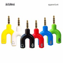 AiSMei 10PCS/Lot 3.5mm Audio Earphone Headset to 2 Female Jack Headphone Mic Audio Cable combine for iPhone HTC Sony Xiaomi