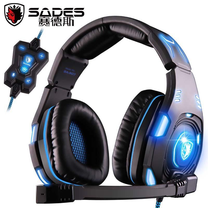SADES SA-907 Top Level 7.1 Sound Glittering Gaming Headset Headphones Game Headband w/ Microphone Powerful Bass Stereo Earphone(China (Mainland))