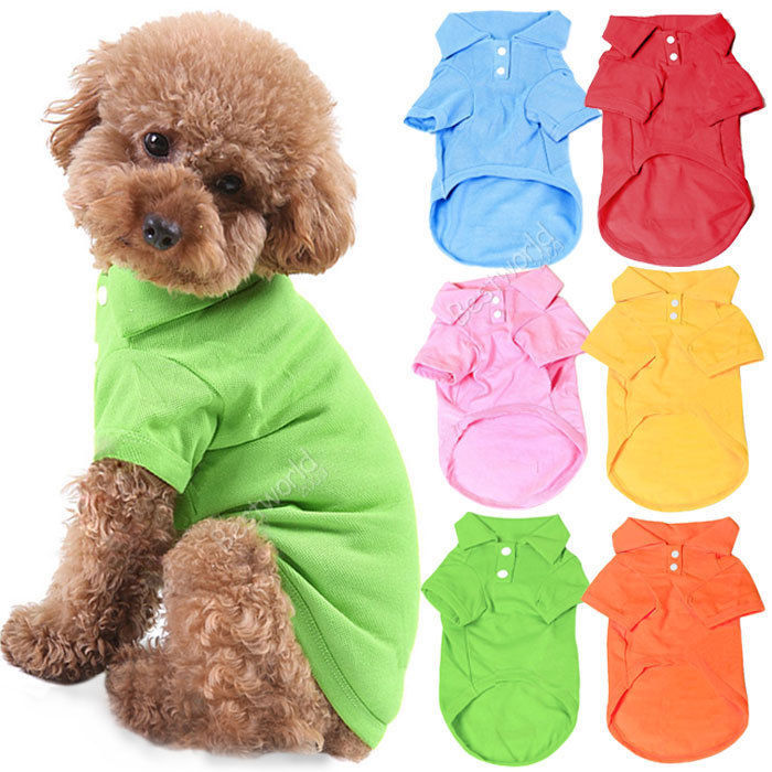 Pet Dog Cat Puppy Polo T-Shirts Suit Clothes Outfit Apparel Coats Tops Clothing Size XS S M L XL Free shipping&DropShipping C10(China (Mainland))