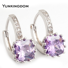 Yunkingdom NEW Square Design Hoop Earrings White Gold Plated Cubic Zirconia Wedding Earring For Women Good