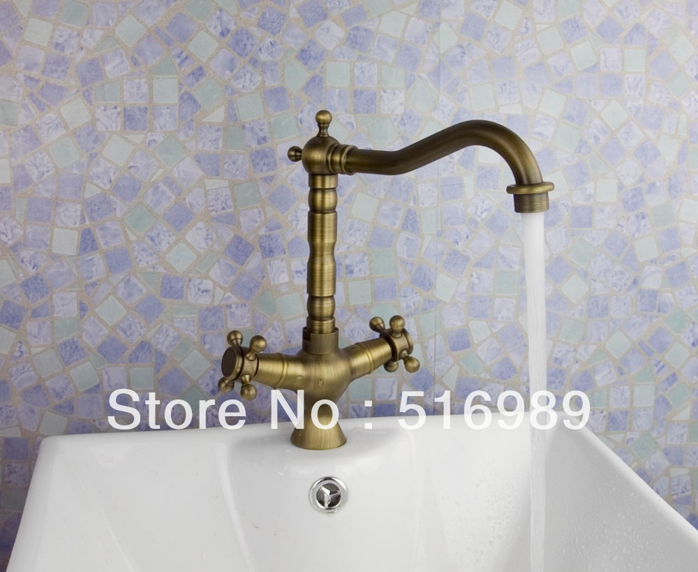 Antique brass kitchen sinks faucet mixer tap swivel spout double sinks sam202
