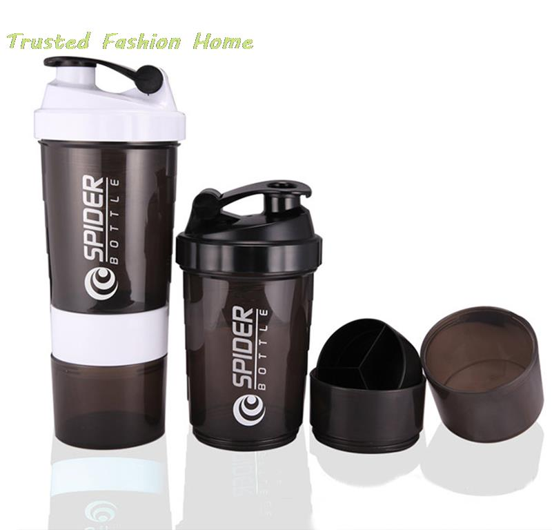 500ml Three Protein Powder Shaker Cups Sports Cup Spider Water Bottle Portable 2 Colors Free Shipping Bottle(China (Mainland))