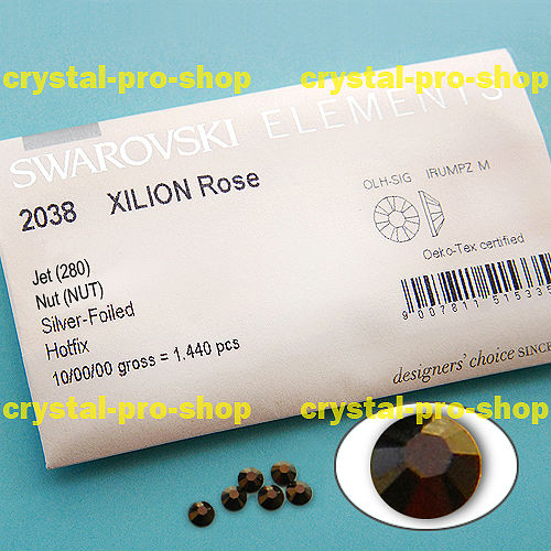 GENUINE Swarovski Elements ss8 Jet Nut ( 121 ) 1440 pcs Iron on 8ss Hot-fix Flatback Glass Crystal Bulk 2038 Hotfix rhinestones