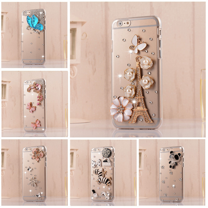 wholesale factory price 2015 new luxury bling phone bagFor iphone 6 case cover For apple DIY Diamond mobile back cover(China (Mainland))