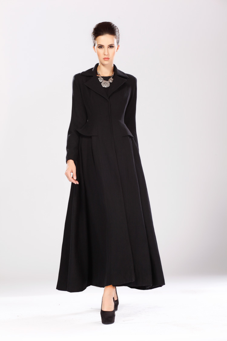 Wholesale-2015 Autumn Winter Fashion Women&39s X-long Wool Coat