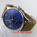 Parnis 44mm blue and big Mechanical hand winding 6497 Men s Watch