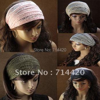 Flower Lace Pattern Widened Crochet Head Hair Band Headwrap Headbands