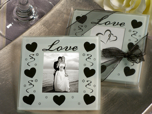"Wholesale Free Shipping AU +""Love"" Elegant Black & White Glass Photo Coasters+400pcs/lot+glass cup mat(China (Mainland))"