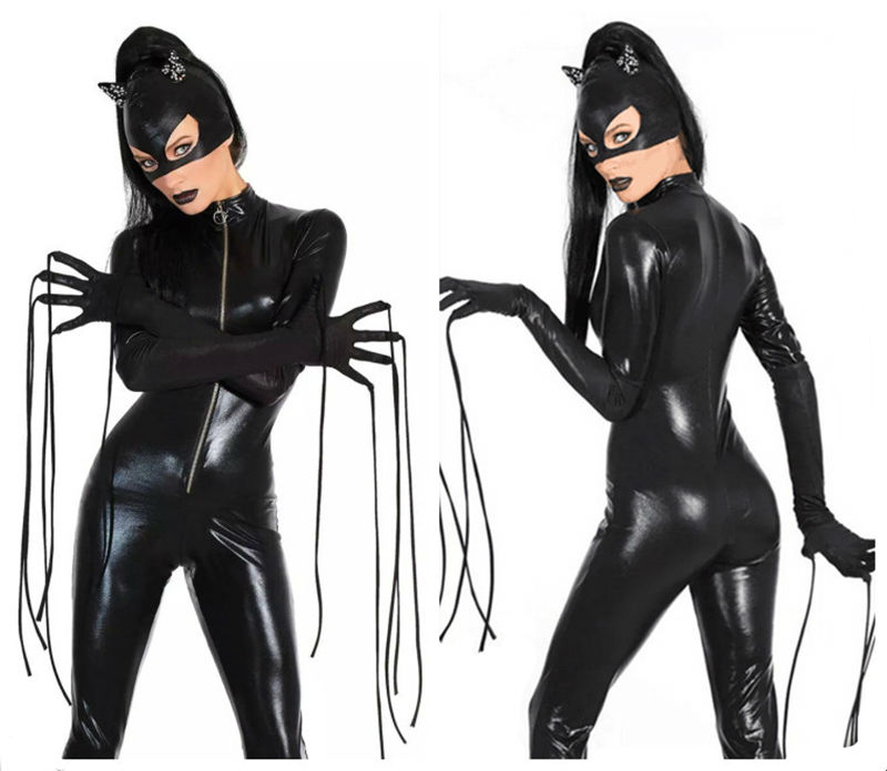 New Sexy Cat Suit Fancy Dress Shiny Super Hero Black Animal Leather Catwoman Costume Halloween Costumes For Women 3 Sets(China (Mainland))