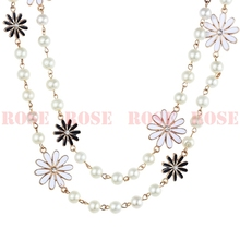 New 2015 Ks Style Vintage Fashion Flower Jewelry Simulated Pearl Long Necklace For Women Accessories Sweater