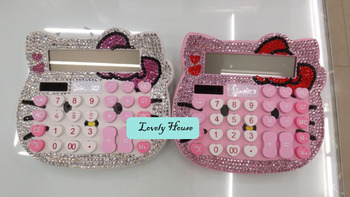 Good Quality Hello Kitty Cute Cartoon Diamond Fashion Designer  LCD Display Calculator for School Office ,Freeshipping