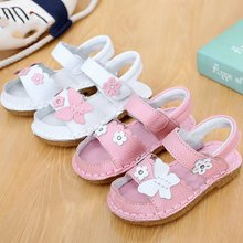 2015 New Arrivals Kid Girl Summer Fashion Beach Casual Authentic Leather Sandals,Kid Girl 2 Color Flower Sandals Hot Sale