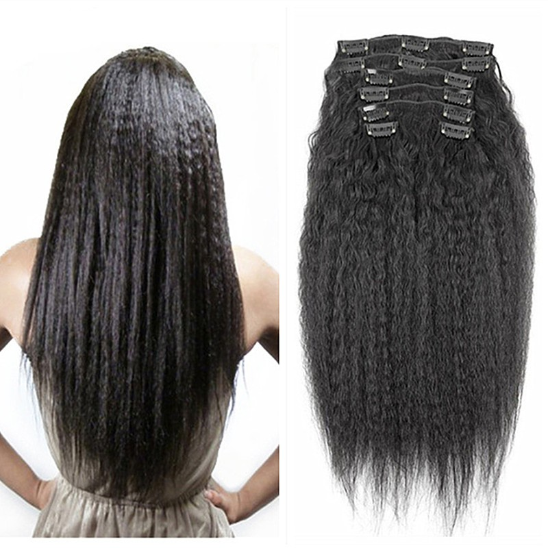 Full Shine Brazilian Clip in Human Hair Extensions Kinky Straight Clip ins for African American 100%Real Hair Clip in Extensions