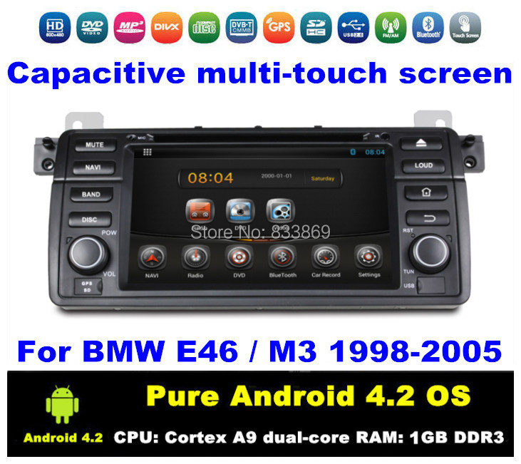 """HD 1 din 7 """"Pure Android 4.2 Car DVD GPS for BMW E46 / M3 1998-2005 With 3G/WIFI Bluetooth IPOD ATV Radio /RDS AUX IN + Can bus(China (Mainland))"""