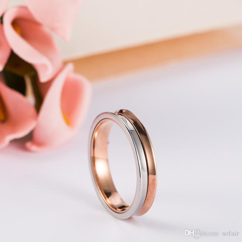 Carved Love Peace Hope Three Elements Prayer Beautiful Life Personality Ornaments Half Rose Gold And Half Silver Wedding Ring(China (Mainland))