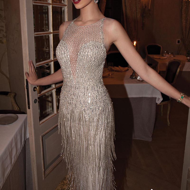 Fancy Glitter Long Evening Dress Luxury Rhinestone Tassel