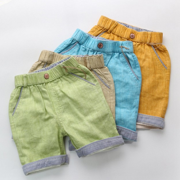 2015 Summer New Boys Pants Fashion Casual Cotton Children's Clothing Linen Shorts Kids Baby Boy Shorts Yellow Beige Blue Green(China (Mainland))