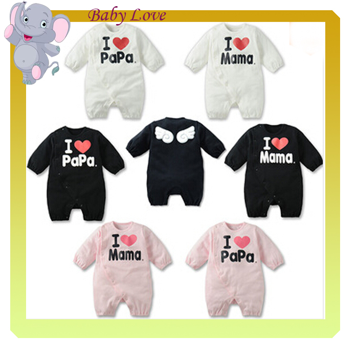 2015 Cotton Baby boys girls angel wings kids clothing set long sleeve Romper love Mama papa Children 1902968536 - ZHY TWL's store