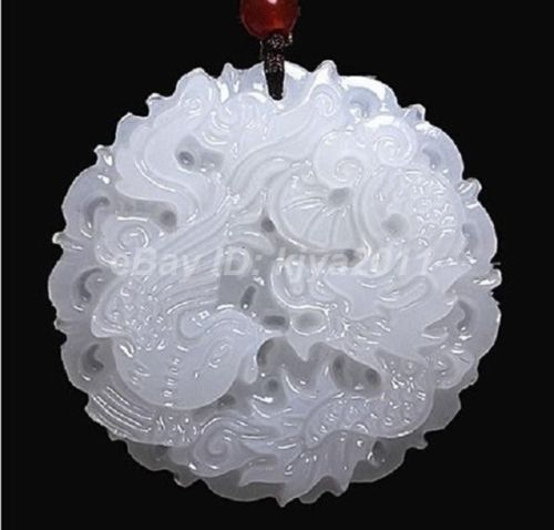 Wholesale price free shipping ^^^^Vintage Chinese Hand-carved 100% Natural White Jade Pendant - Dragon Phoenix(China (Mainland))