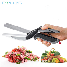 Gamlung Brand Clever Food Scissors Smart 2 in 1 Knife Cutter Board Shaped Kitchen Scissor As Seen On TV Accessories 2017