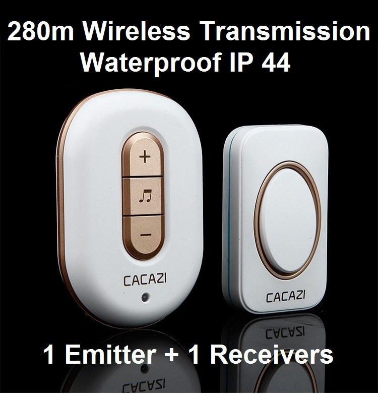 1 Emitter+1 Receivers Waterproof 280M Long-Range Wireless DoorBell,Wireless Door Chime,Wireless Bell,Door Bell,48 Melodies Bell(China (Mainland))