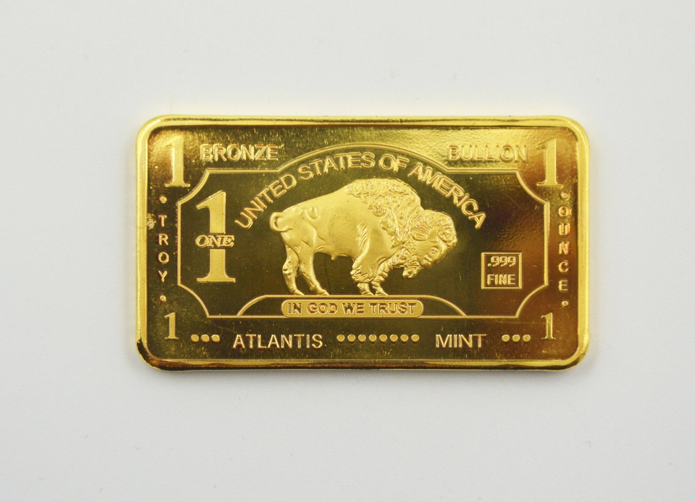 Best Gifts 24k Gold Plated Bullion Bar United States Of America 1 Troy Ounce Fine Gold Bar Buffalo Decoration From Atlantis Mint(China (Mainland))