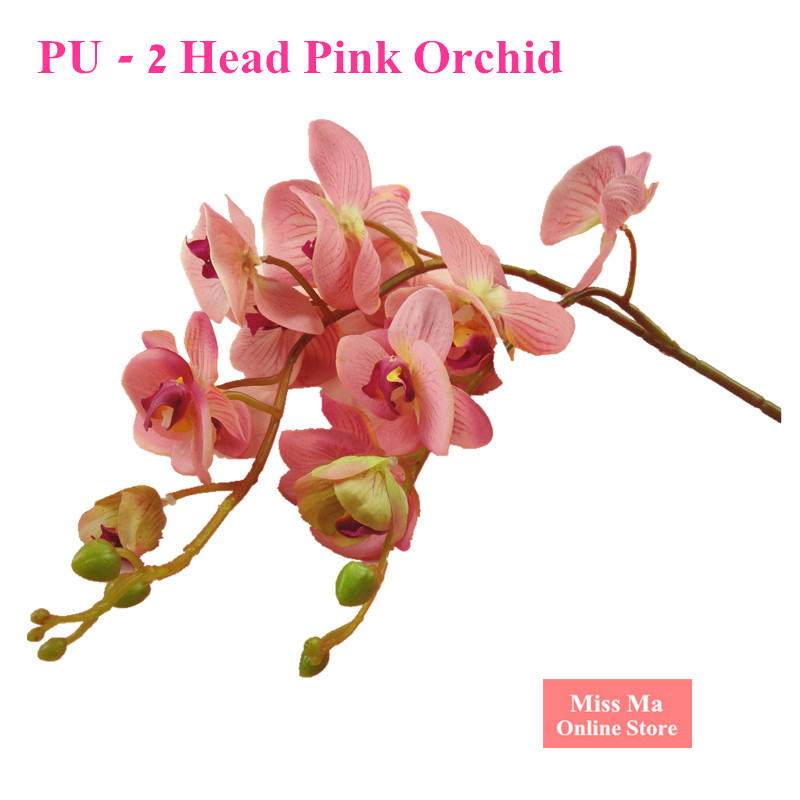 2 Heads Phalaenopsis Big Orchid Length 120cm PU Latex Flower Real Touch Orchid Artificial Flower Wedding Flower Free Shipping(China (Mainland))