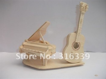 Free shipping! 3D Wooden Puzzle Guitar & Piano model kit, wood DIY toy, 1 set