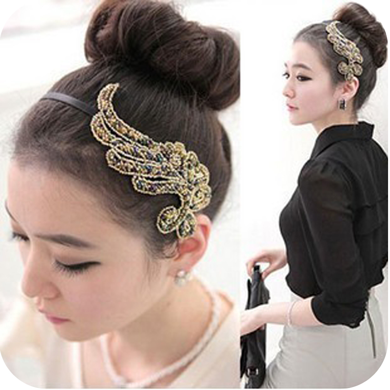 Fashion  accessories elegant beaded resin cloth hair bands plants free shipping