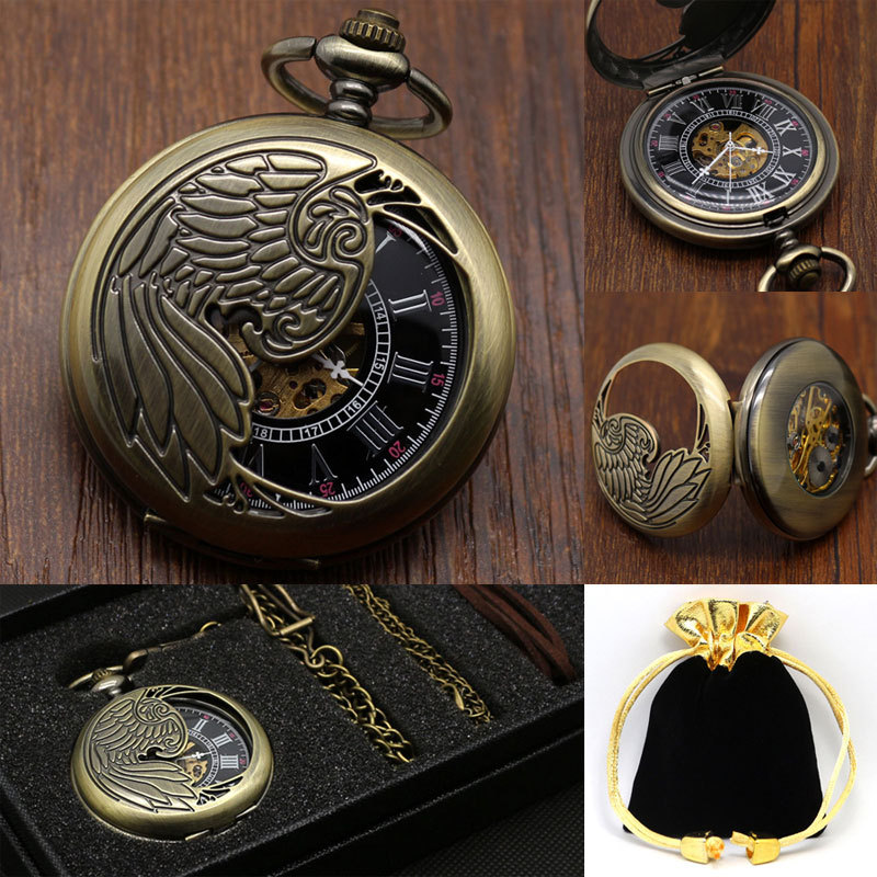 New Shiny Fashion Royal Exquisite Carved Pocket Watch Vintage Mechanical Pocket Watches With Gift Box Best Gift(China (Mainland))