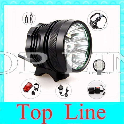 NEW 8T6 bicycle lamp bike light 12000LM 8x Cree XML T6 bikelamp 8*T6 LED Bicycle Light with 6x18650 8.4v 12000mAh Battery Pack(China (Mainland))